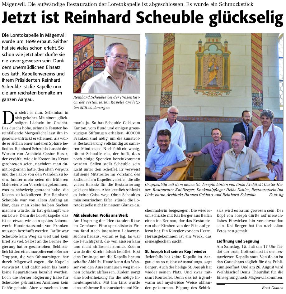 Jetzt ist Reinhard Scheuble glückselig (Reussbote 30.6.2017)