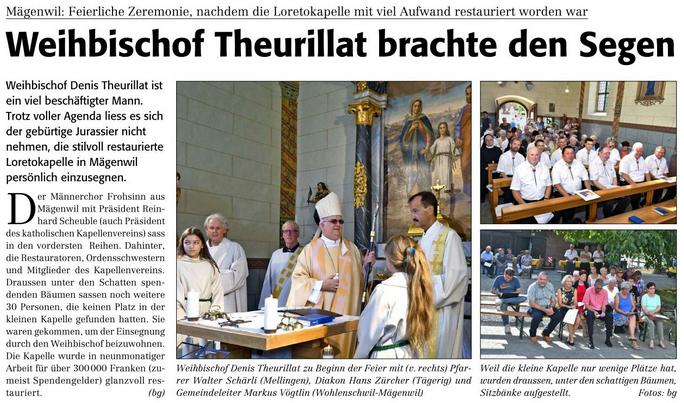 Weihbischof Theurillat brachte den Segen (Reussbote 29.8.2017)