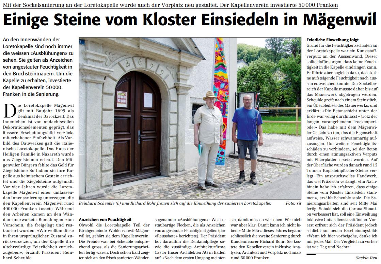 Einige Steine vom Kloster Einsiedeln in Mägenwil (Reussbote 26.05.2020)